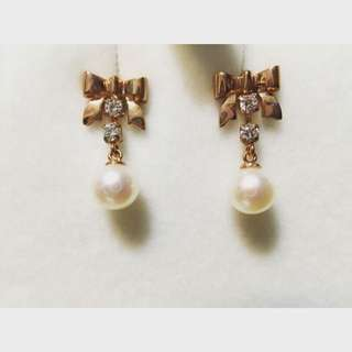 Batino 天然珍珠 八心八箭晶鑽 耳針式耳環