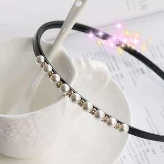 韓國東大門簡約珍珠水鑽淑女氣質細髮箍頭飾