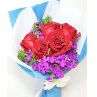 Rose bouquet with free teddy bear