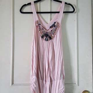 Forever21 Baby Pink Beaded Sleeveless Top