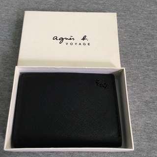 全新 正品agnes b. 蜥蜴 防刮材質 黑色 對開式名片夾 證件夾 卡夾 真皮 牛皮