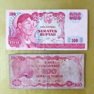 Indonesia 100 rupees notes 1968 + 1984 (each)