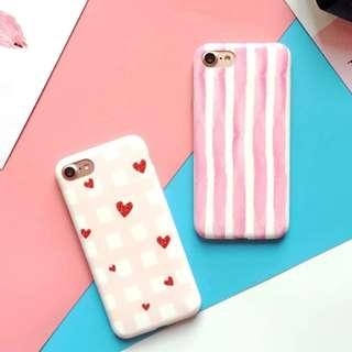 手機殼IPhone6/7/8/plus(沒有X) : 簡約粉嫩少女心條紋磨砂軟殼