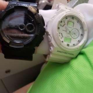 G-shock黑+白色手錶.$300/隻