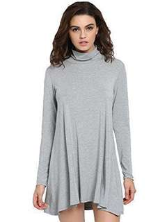 Gray Turtle Neck Long Sleeve Casual Dress