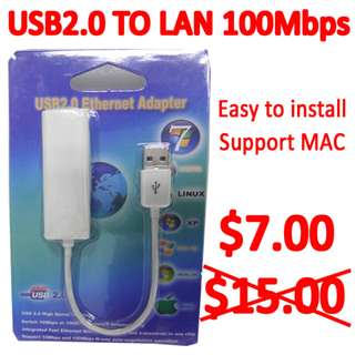 Sales USB2.0 to LAN Adapter @ 100Mbps
