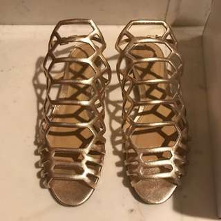 Preloved Schutz Metallic Gold Strappy Sandal