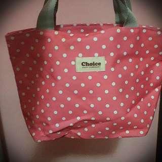 🚚 粉紅色底白點點可下水容量大便當袋
