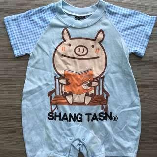 水藍連身衣(80碼)嬰兒包屁衣 爬服 刷毛 兔裝,非背心 T恤 洋裝