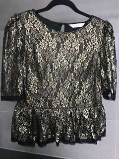 Seed gold lace peplum top