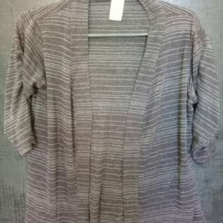 Cardigan - black with silver stripes