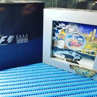 F1 2008 Singapore Singtel Singapore Grand Prix Formula 1 Commemorative $50 Silver Proof Coin