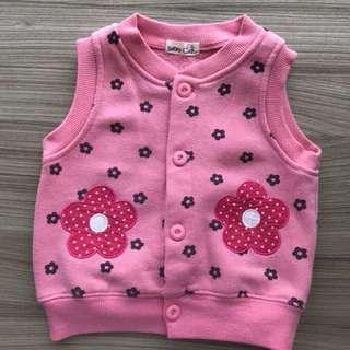 粉色花朵刷毛背心(2號 70碼)韓國棉 非包屁衣 嬰兒連身衣 兔裝 護肚褲