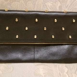 BCBG Black Leather Clutch