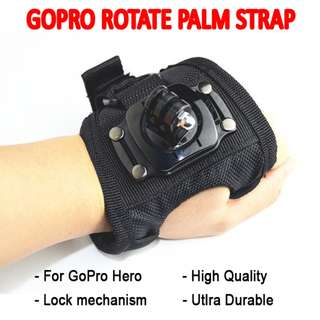 TGP004 360 Degree Rotation Palm Strap Mount for GoPro Camera Hero Session