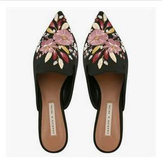Charles Keith Floral Pointed Slip-Ons S37