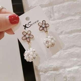 2018春款新款花朵珍珠鑽球潮流少女系耳環