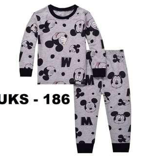 Micky Black Neckline  Long Sleeve Pyjamas for (2 - 7 yrs old) Instock