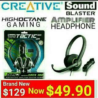 Sound Blaster Gaming Headset With Built-in Stereo Amplifier for PC/MAC or Xbox 360®.  Model:Tactic360 ion. Usual price: $129.90  Special Price: $49.90 ( Brand New & Sealed) whatsapp 85992490 To Collect From Any Mrt Stn In Town.   Last set left