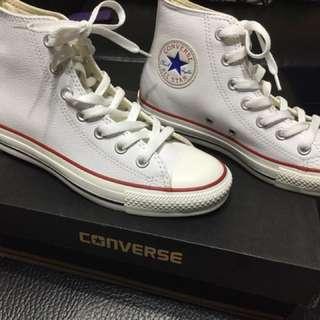 All start 白皮革高筒鞋39.5號