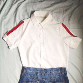 White polo shirt with red stripes #springcleaning
