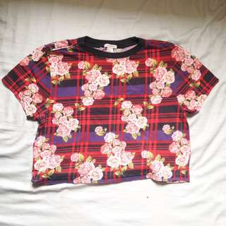 Forever21 plaid floral checkered crop top #springcleaning