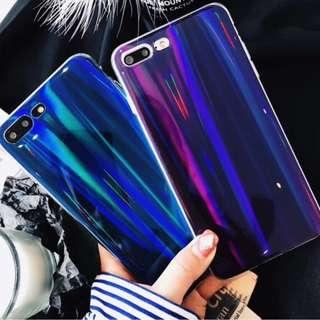 手機殼IPhone6/7/8/plus/X : 型格紫藍镭射全包邊軟殼