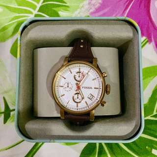 Fossil Original Boyfriend Chronograph Dark Brown Leather Watch