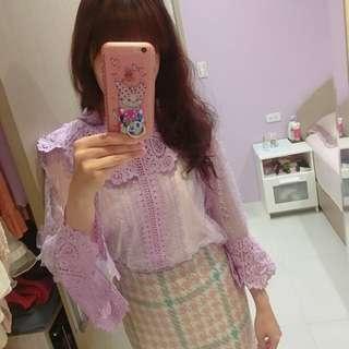 🚚 正韓全新紫色蕾絲雕花上衣