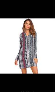 PLUS SIZE Ethnic Style Geometric Print Dress
