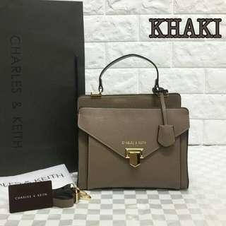 Charles & Keith Sling Bag Khaki Color