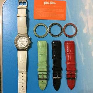正品FOLLI FOLLIE三眼手錶組 (可換錶帶/錶框)
