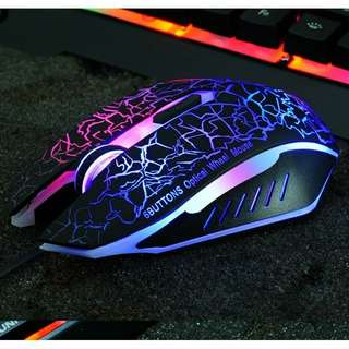 Bright electrically wired USB gaming mouse