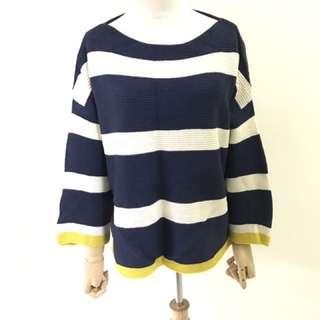 全新 藍白黃條紋針織毛衣