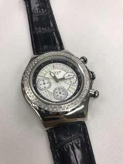 Ladies diamond leather watch