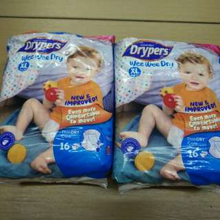 Drypers diapers XL size 16pcs x 2