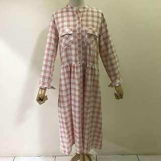 全新 棉麻洋裝 粉紅
