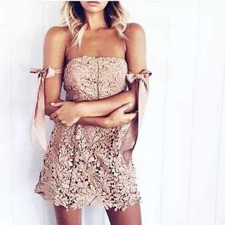 🌹度假訂製款-水溶粉紅蕾絲緞帶洋裝 晚宴服 禮服 生日派對