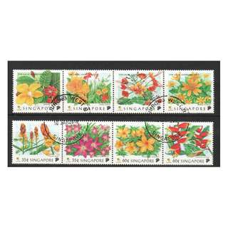 SINGAPORE 1998 THE COLOURS OF NATURE FLOWERS SE-TENANT COMP. SET OF 8 STAMPS IN FINE USED CONDITION