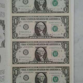 Uncut US$1 notes