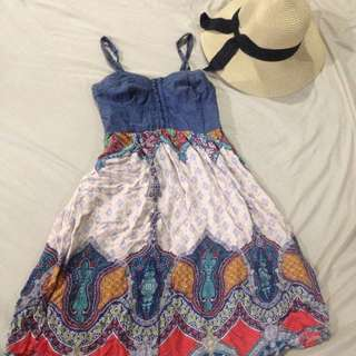 Bohemian Summer Aztec denim dress