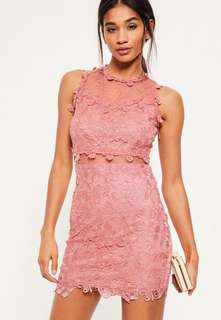 Missguided Pink Lace & Mesh Bodycon Dress (NWT)