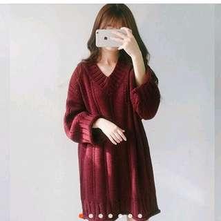 ❤韓版V領長袖針織裙 針織衣 酒紅色
