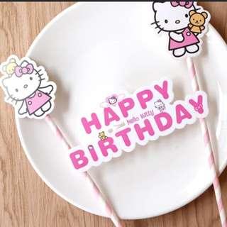 Happy Birthday Deco Flag cake topper
