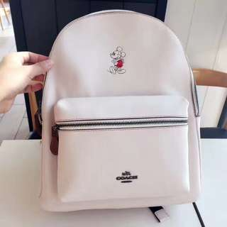 Coach Charlie Backpack in Glove Calf leather with mickey white