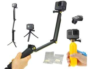 Foldable plus floatable selfie stick gopro action camera accessories