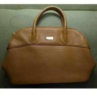 法國 Elegance-手提包-古著-土黃色-荔枝紋皮