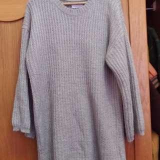 🚚 灰色針織長版衣