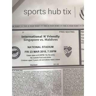 Singapore vs Maldives Adult Ticket Tix Football Soccer