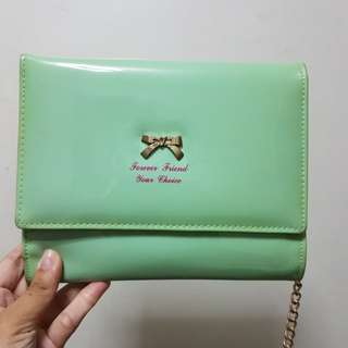 Mint green clutch bag (can also be a body bag)